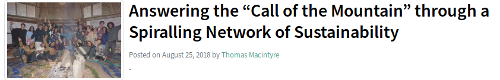 """Macintyre, T. 2018. Answering the """"Call of the Mountain"""" through a Spiralling Network of Sustainability. #180 Networking Communities Magazine: 10–13."""
