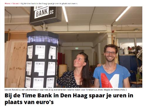 de Vetten, M. 2018. Bij de time-bank in den Haag spaar je uren in plaats van Euros