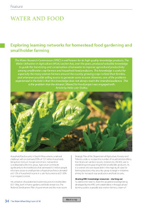 Lotz-Sisitka, H. 2018. Exploring learning networks for homestead food gardening and smallholder farming – feature – water and food. Water Wheel, Volume 17 Number 3, May 2018, p. 34 – 37